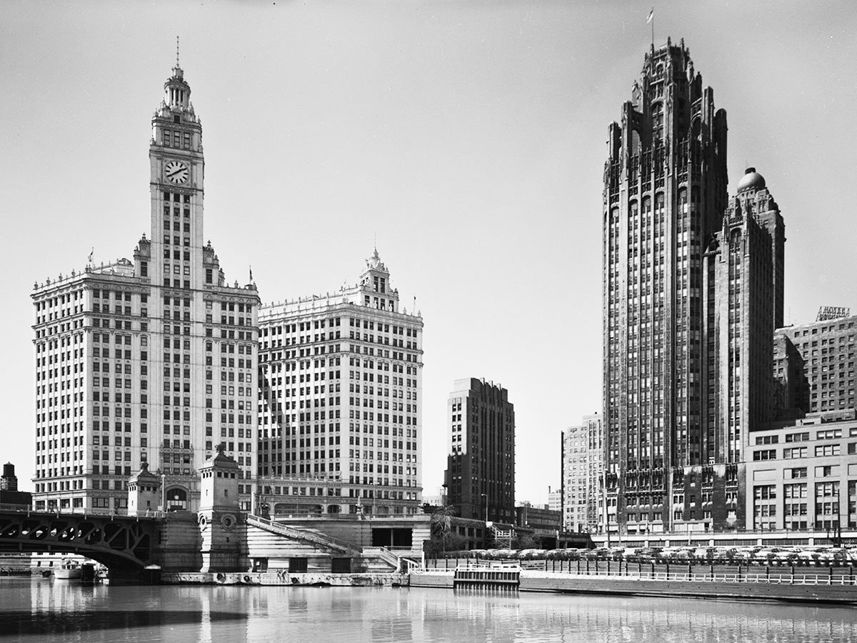 Michigan Avenue Bridge, Wrigley Building, and Tribune Tower, c. 1955