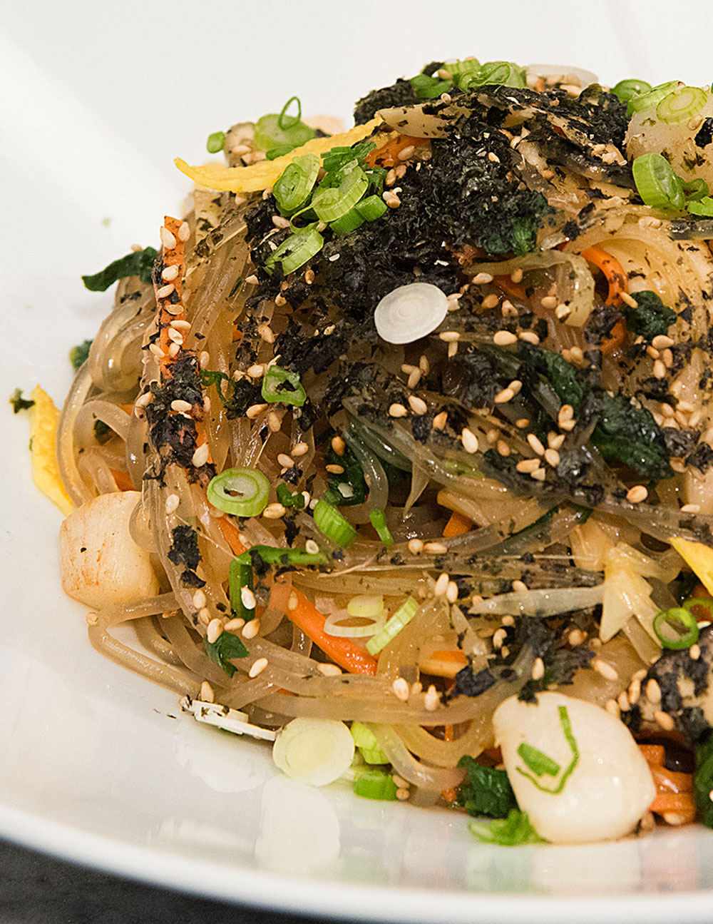 Japchae with Bay Scallops