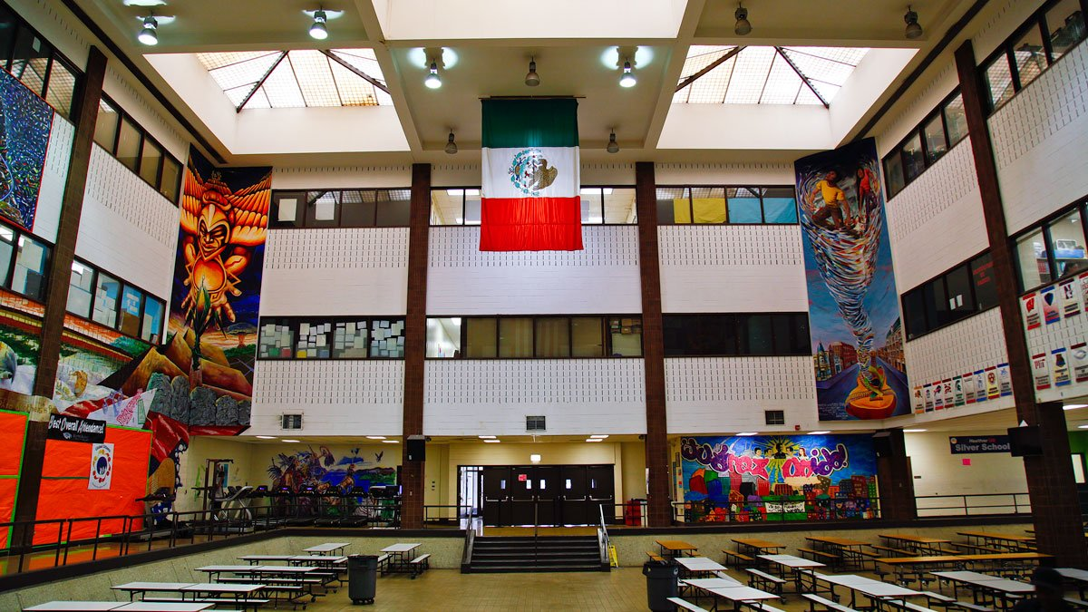 Inside Benito Juarez, where many community and student groups meet and practice