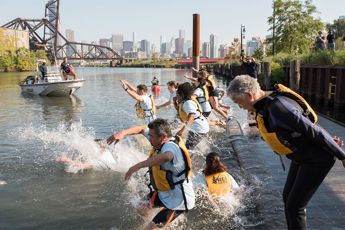 Jumping in the Chicago River