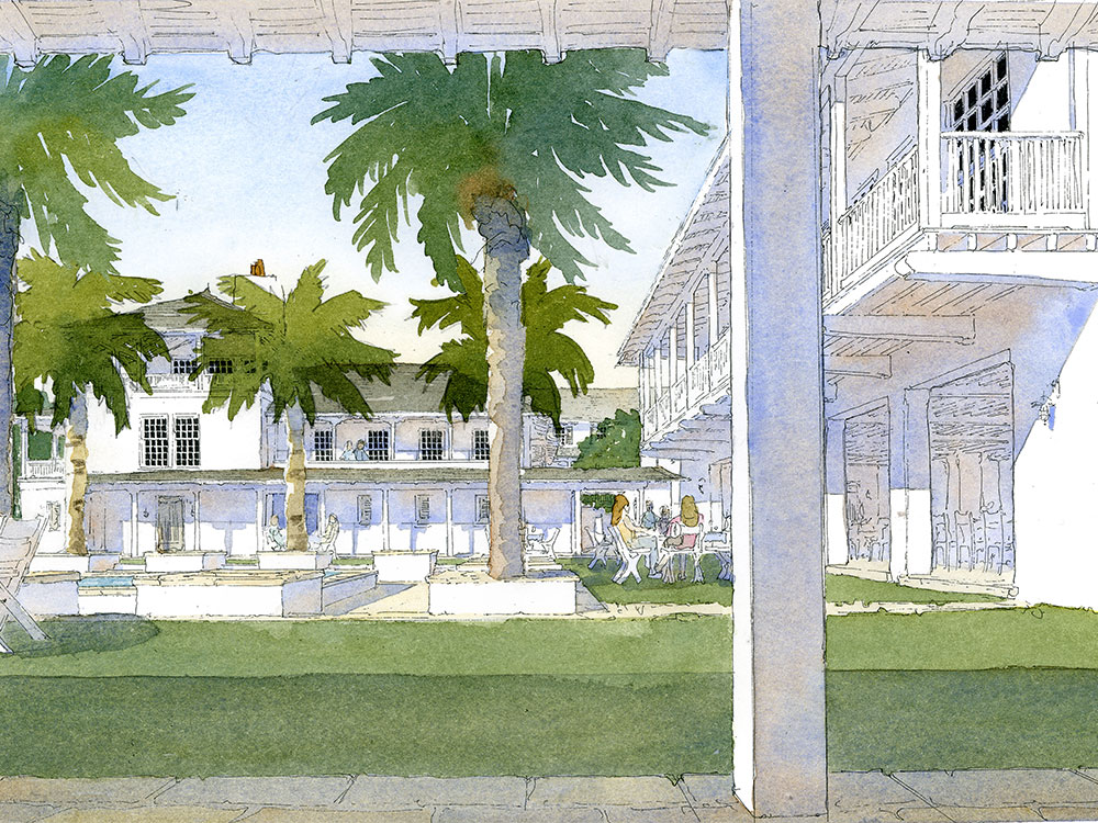 Caribbean Courtyard House watercolor