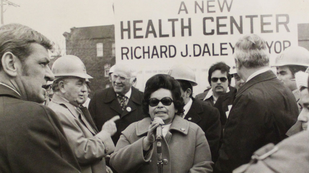 John D'Arco Sr., the 1st ward committeeman, Father Alex Kasper, State Rep John D'Arco Jr., Mayor Richard J. Daley, and Irene Hernandez, the County Commissioner, at the breaking ground ceremony for a new health center.