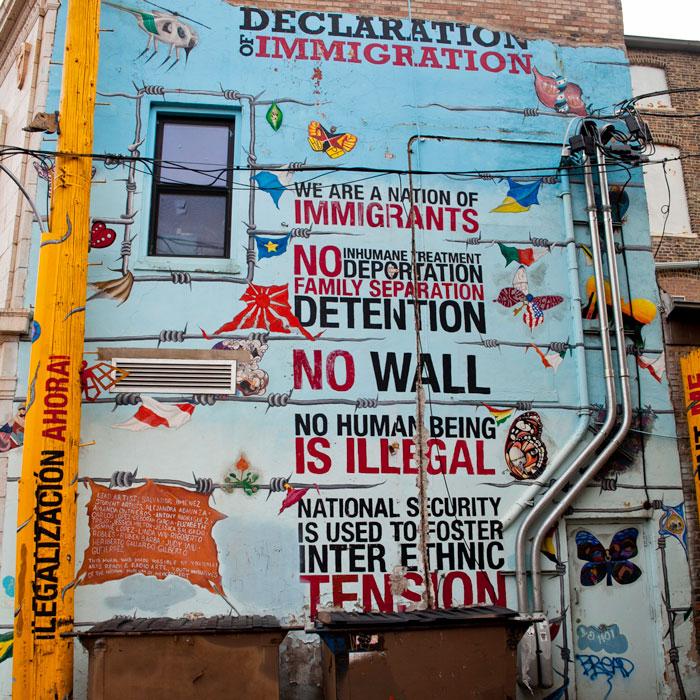 Declaration of Immigration by artist Sal Jimenez with Yollocalli Arts Reach