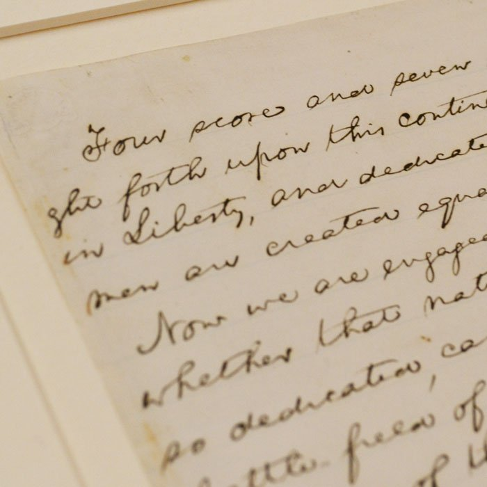 A copy of the Gettysburg Address in President Abraham Lincoln's handwriting in the Lincoln Presidential Library Special Collections