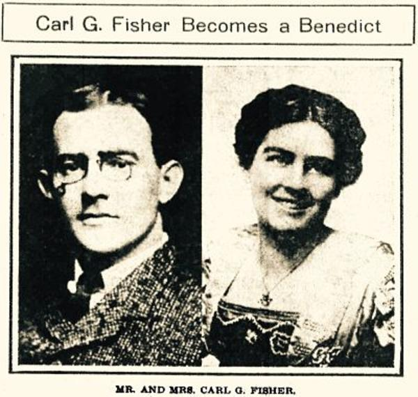 evening paper on October 23rd, 1909 announced the wedding of Carl Fisher and Jane Watts