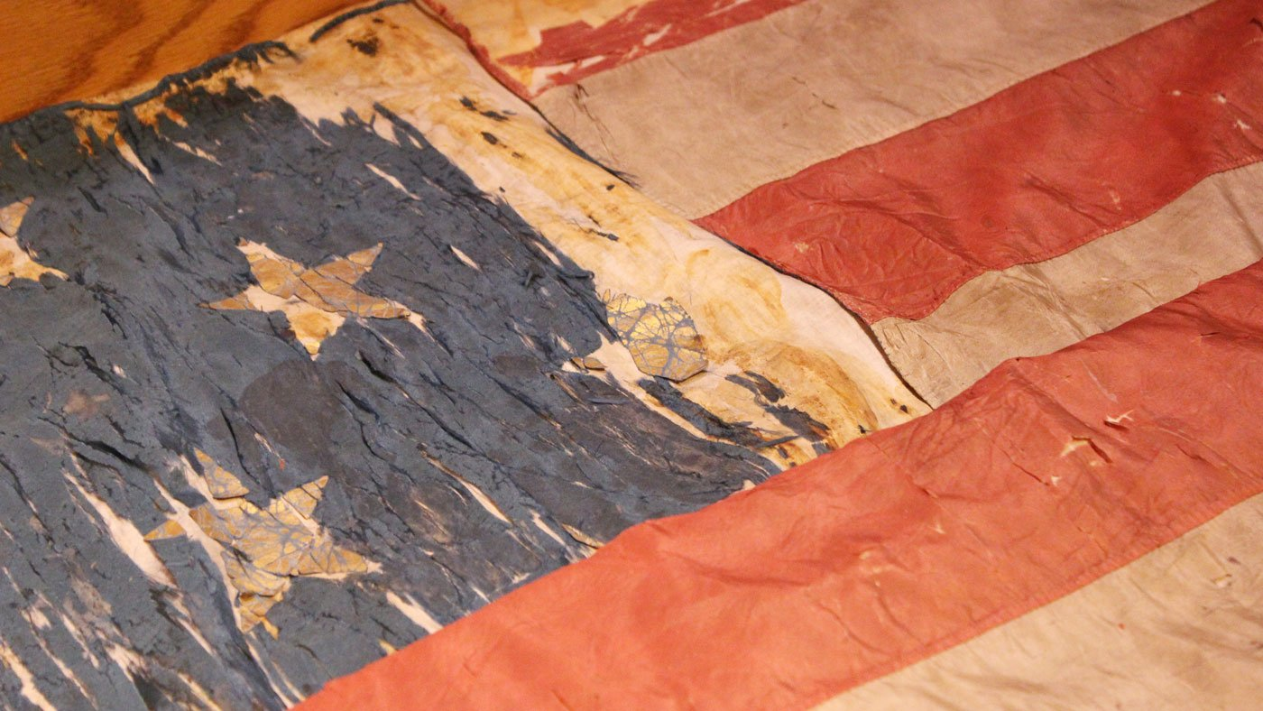 The flag that was raised over Vicksburg, Mississippi after it was captured in 1863 by a Union army regiment from Galena under the command of General Ulysses S. Grant is now on display at the Galena & U. S. Grant Historical Museum
