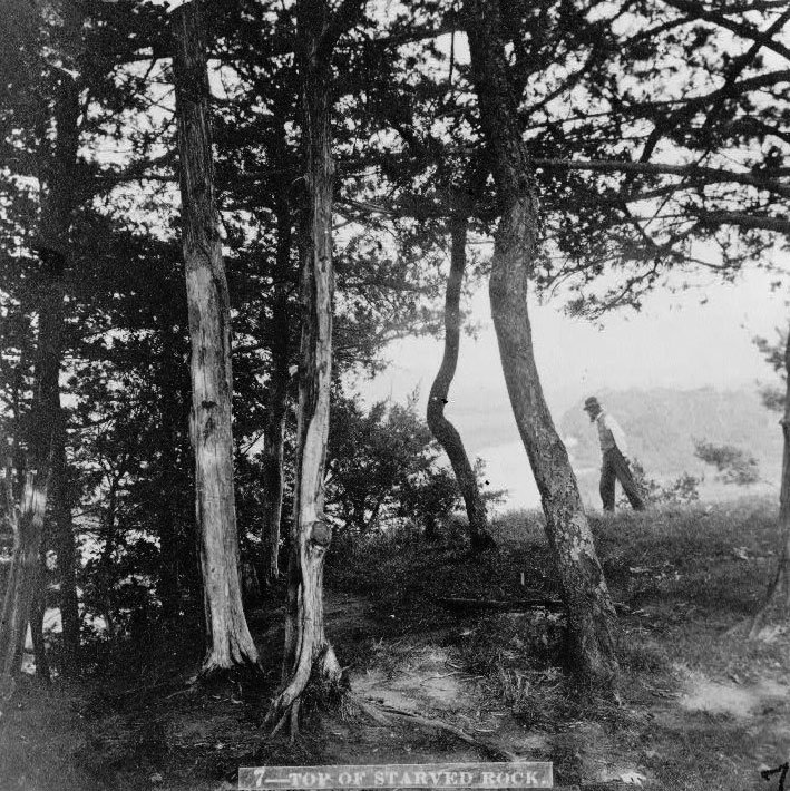 A hiker atop Starved Rock, circa 1866