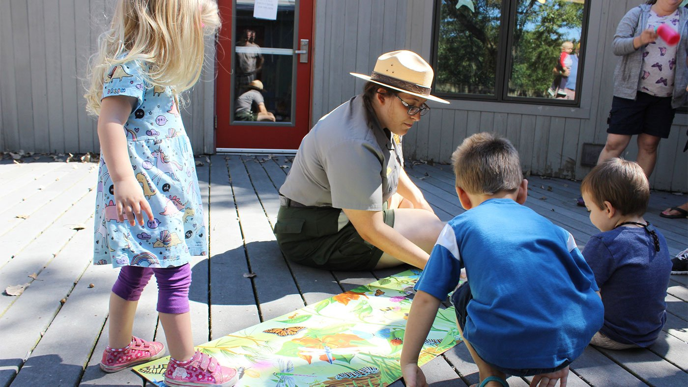 National Park Service Ranger Grace Kruse leads a Nature Tots program at the Douglas Center for Environmental Education