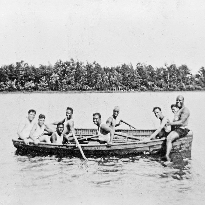 Louis, Lil and Earl Hines boating with friends, Idlewild, Michigan, 1928