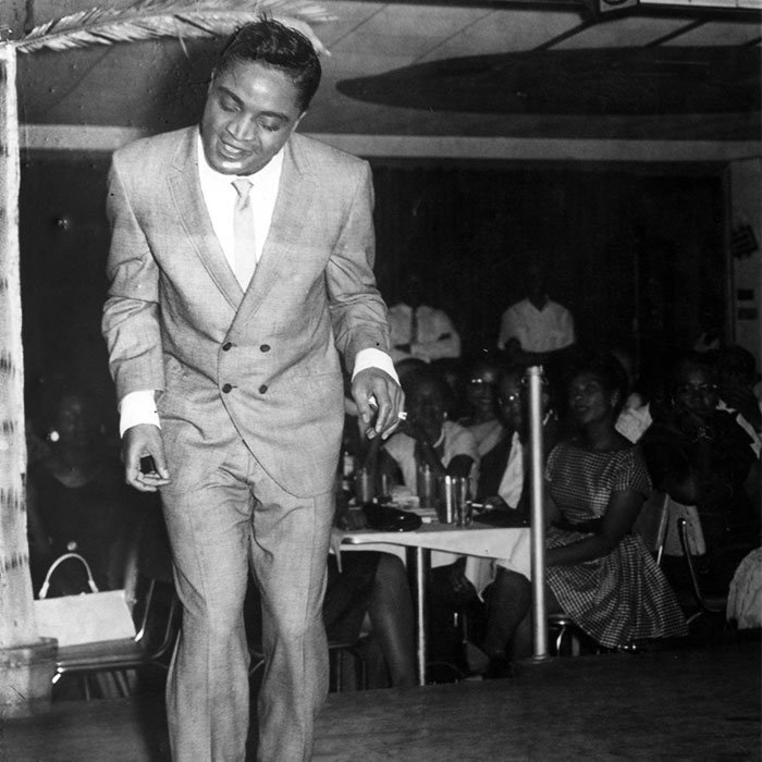 Jackie Wilson performs at the Paradise Club in Idlewild, circa 1960