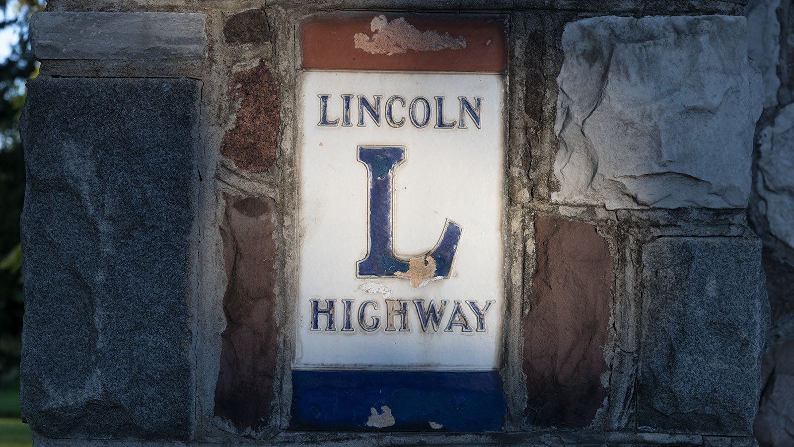 Lincoln Highway emblem embedded in the Hopley Monument in Bucyrus