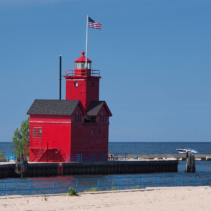 "The ""Big Red"" Lighthouse at Holland State Park."