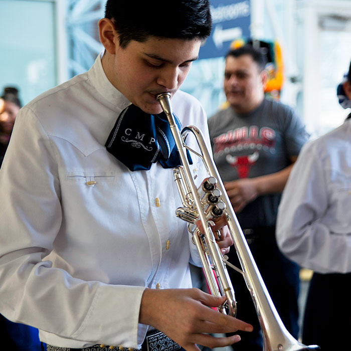 Mariachi students practice, prepare, and take the stage at a performance at Navy Pier