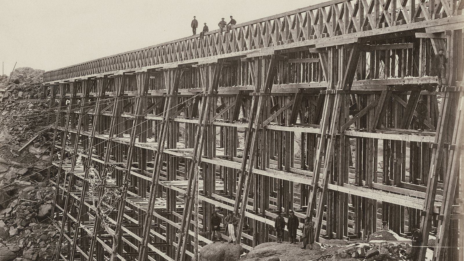 Construction of Dale Creek Bridge along the Union Pacific Railroad