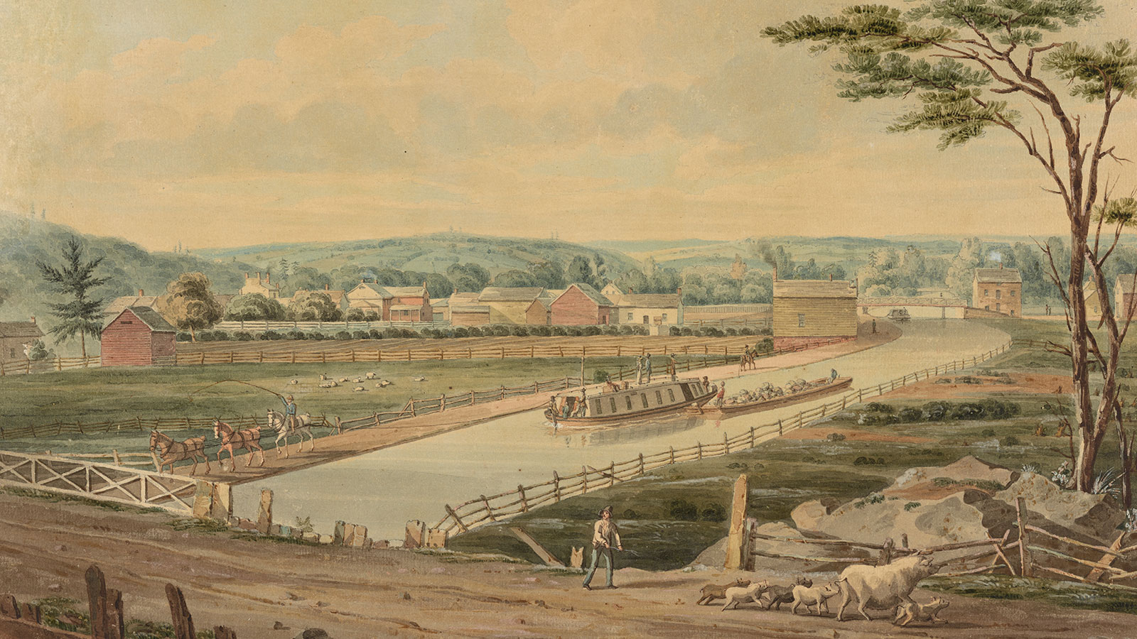 View on the Erie Canal painting