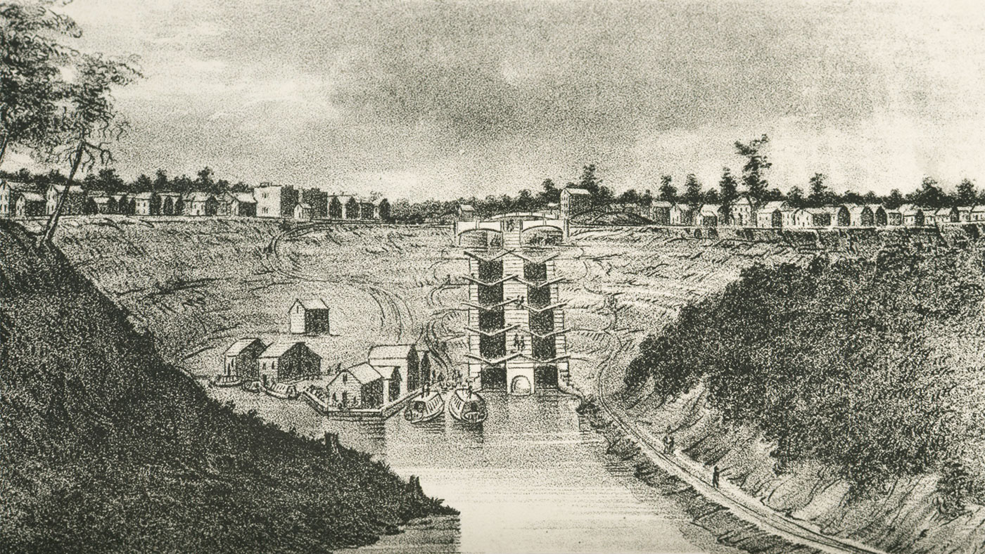 Lockport from Prospect Hill drawing