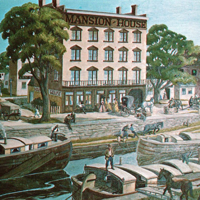 postcard shows boats on the Erie Canal