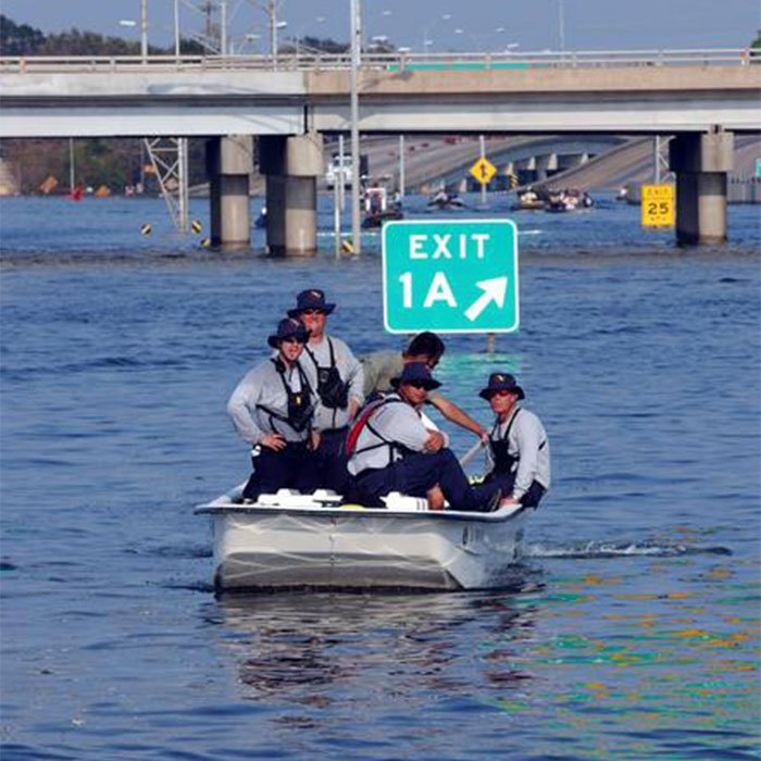 FEMA search teams went out in boats to help rescue residents stranded due to flooding from Hurricane Katrina on August 29, 2005