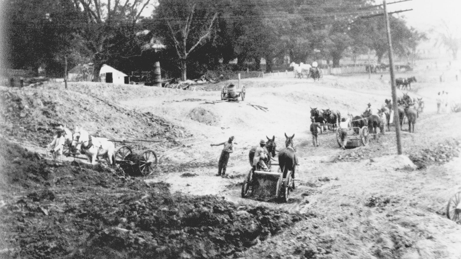Early levee construction in Louisiana, circa 1880