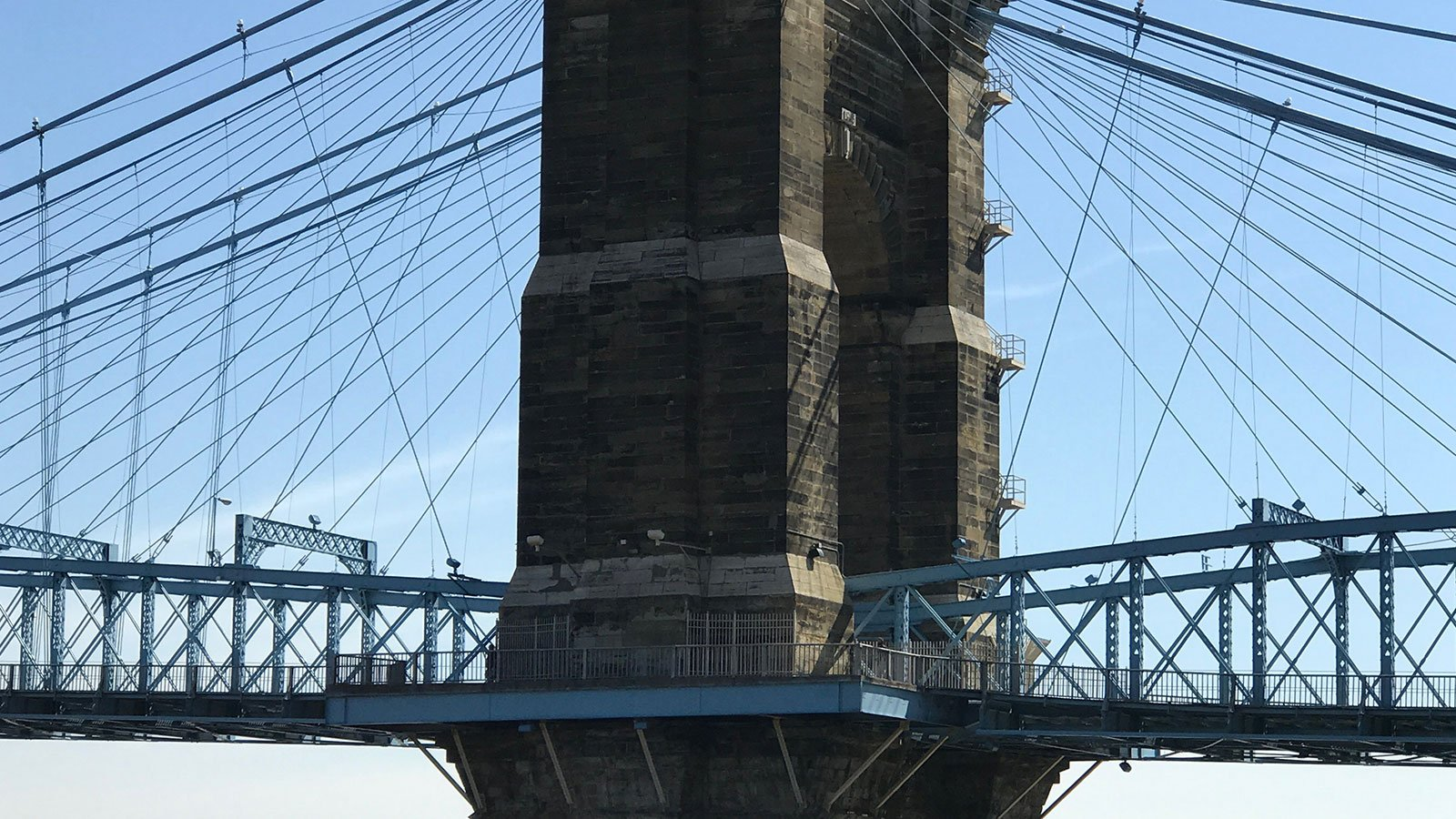 tower on the John A. Roebling Suspension Bridge