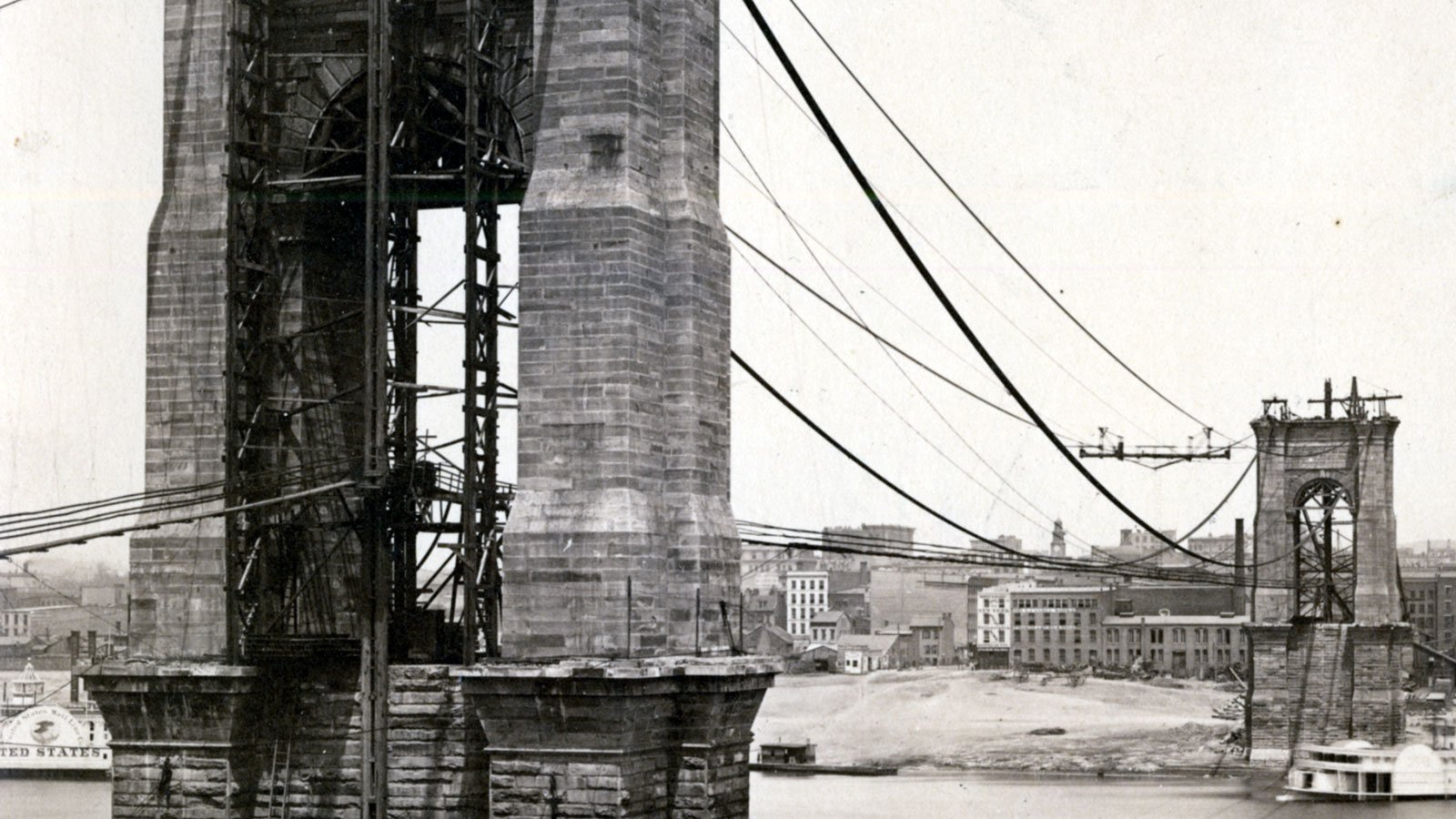 1866: View of cable making between the towers of the Covington and Cincinnati Bridge