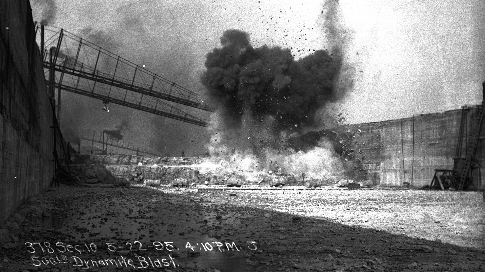Dynamite blasting through bedrock during the construction of the Chicago Sanitary and Ship Canal on May 22, 1895
