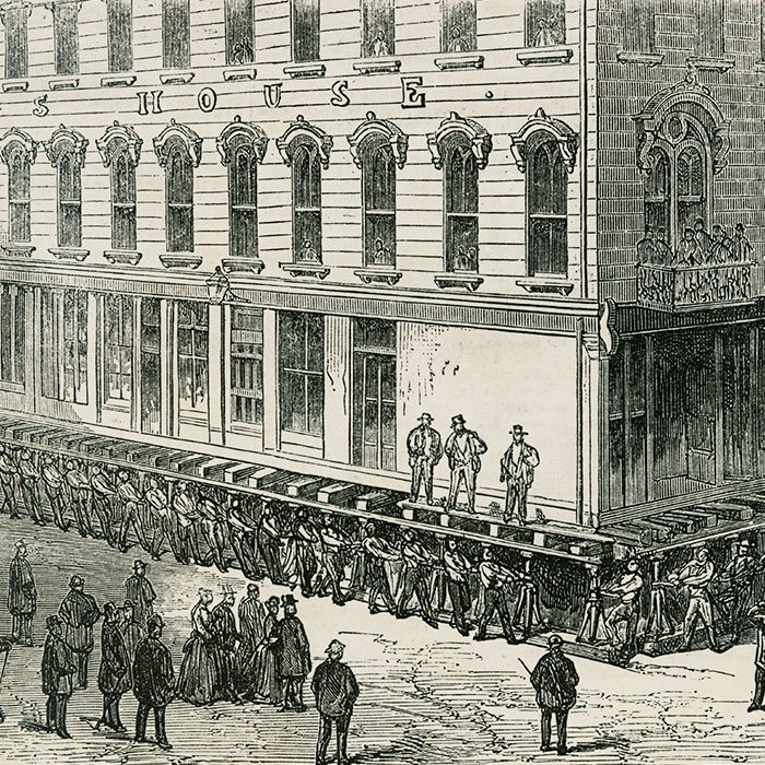 Drawing of the raising of the Briggs Hotel, 1857