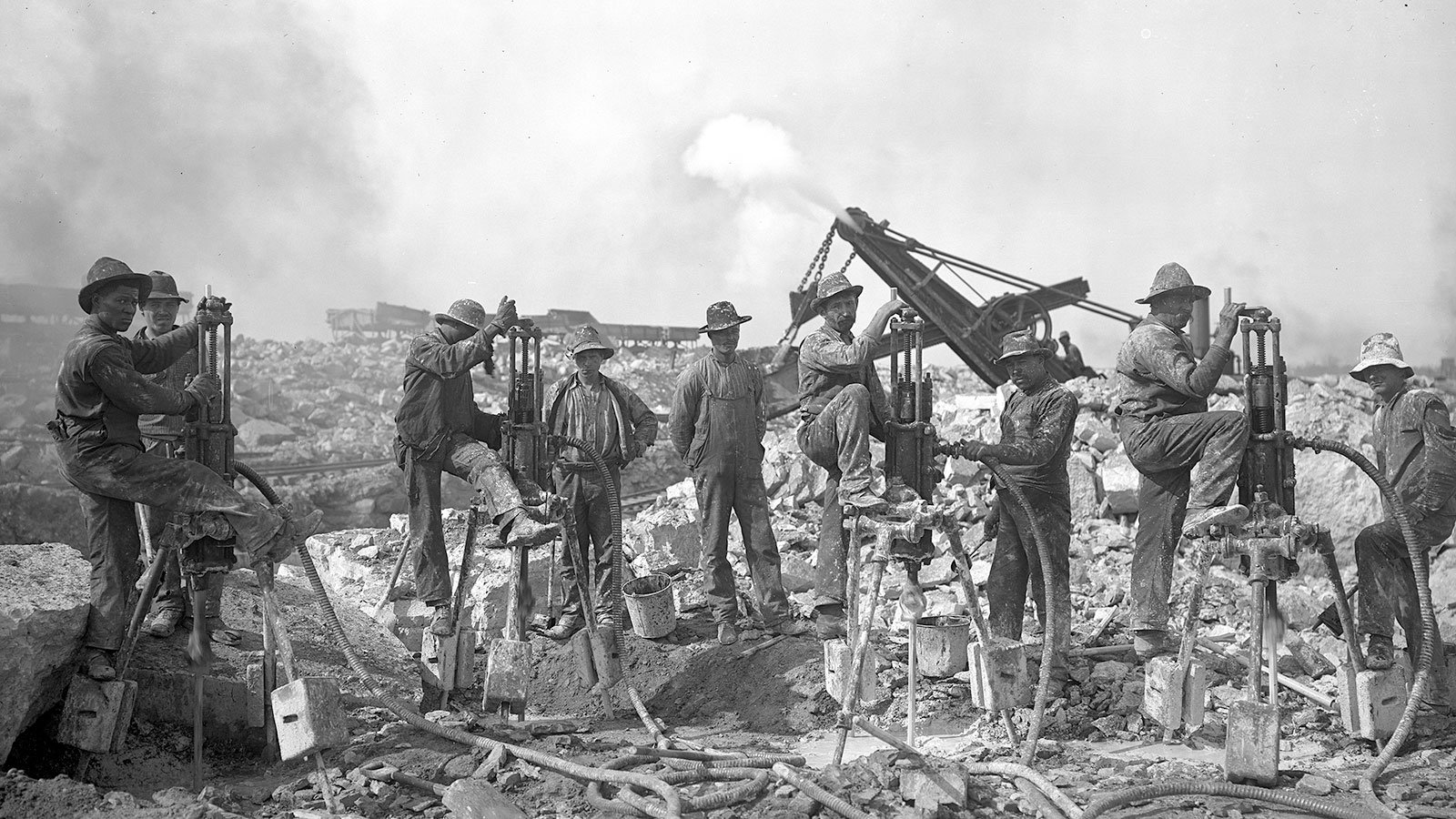 Laborers take a break during the construction of the Chicago Sanitary and Ship Canal extension on September 22, 1904