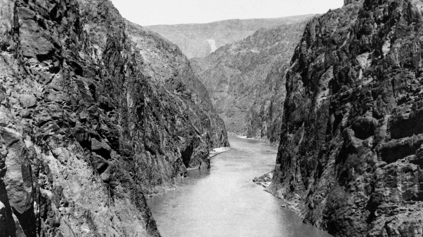 The Colorado River runs through Black Canyon, prior to construction on the Hoover Dam