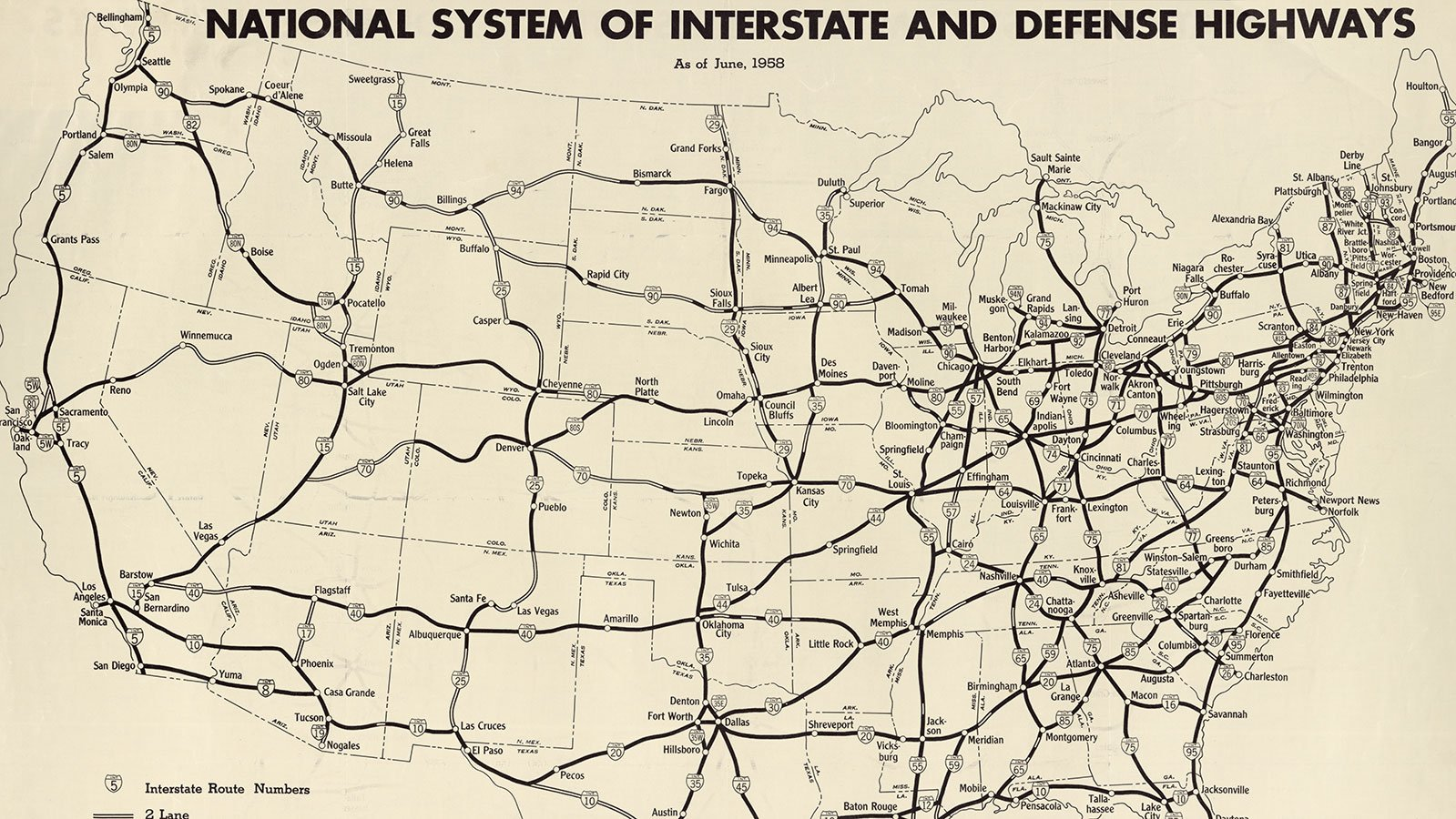 National system of interstate and defense highways, June 1958.