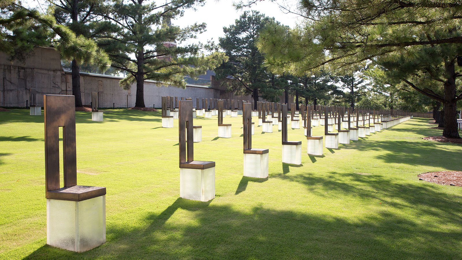 The field of 168 empty chairs represents the lives taken on April 19, 1995
