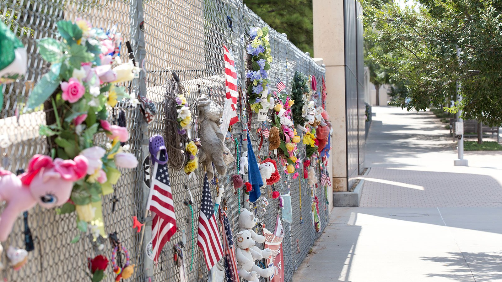 The fence that was originally installed to protect the site of the Murrah Federal Building became a place for people to leave tokens of love and remembrance