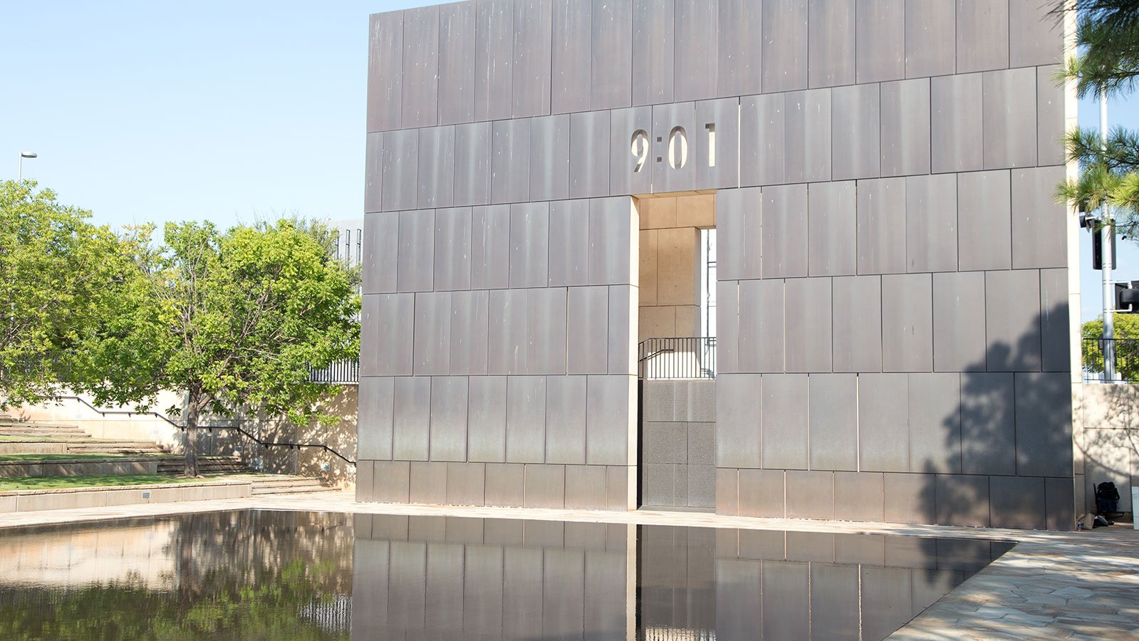 The Gates of Time, central elements of the Oklahoma City National Memorial, frame the moment of the blast