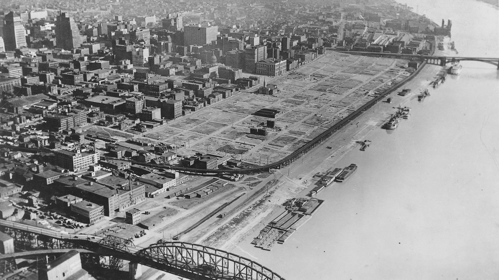 The St. Louis riverfront after demolition of warehouses, circa 1942