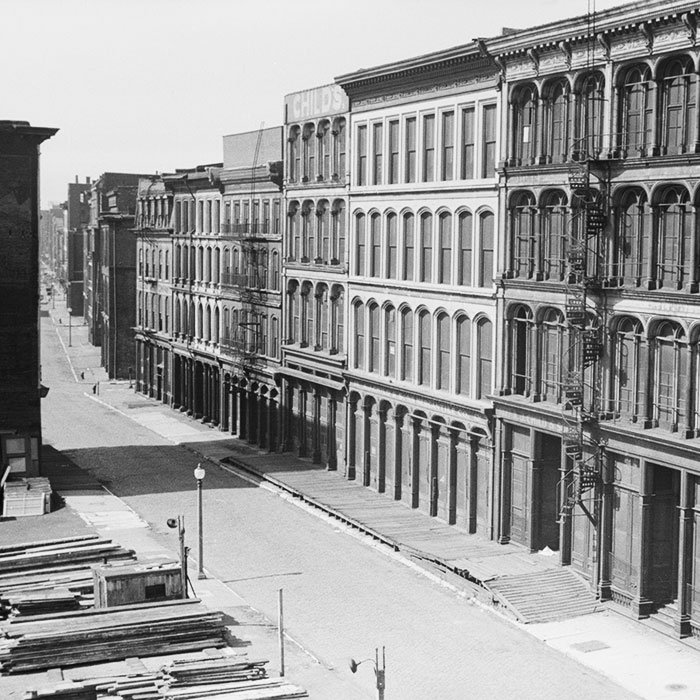 The St. Louis riverfront neighborhood during demolition, shown here in May 1940