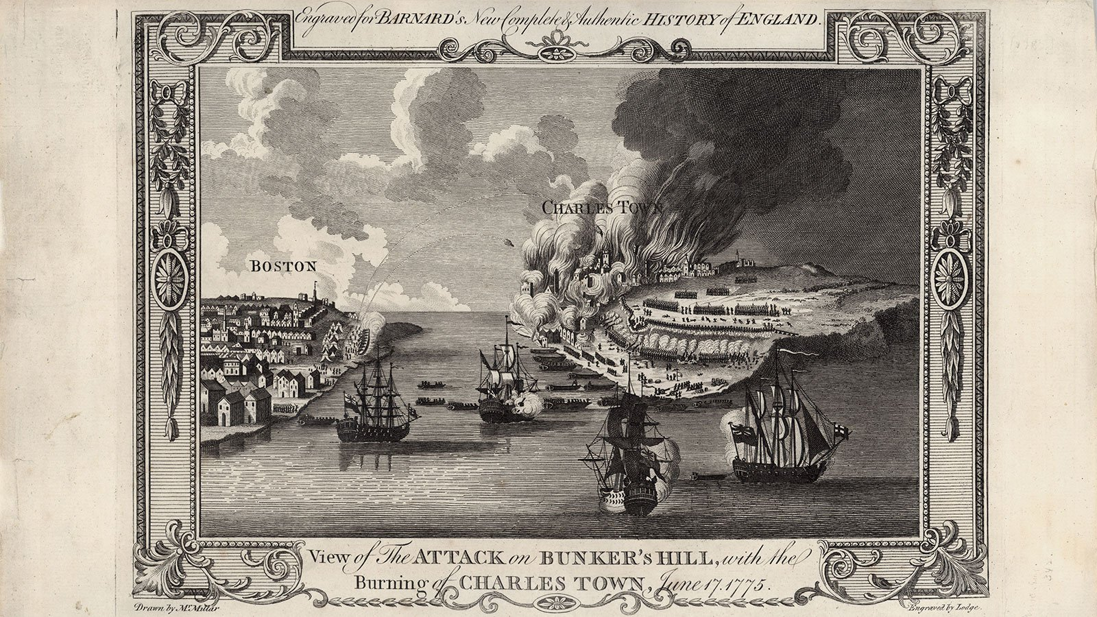 View of the Attack on Bunker's Hill, with the Burning of Charles Town, June 17, 1775