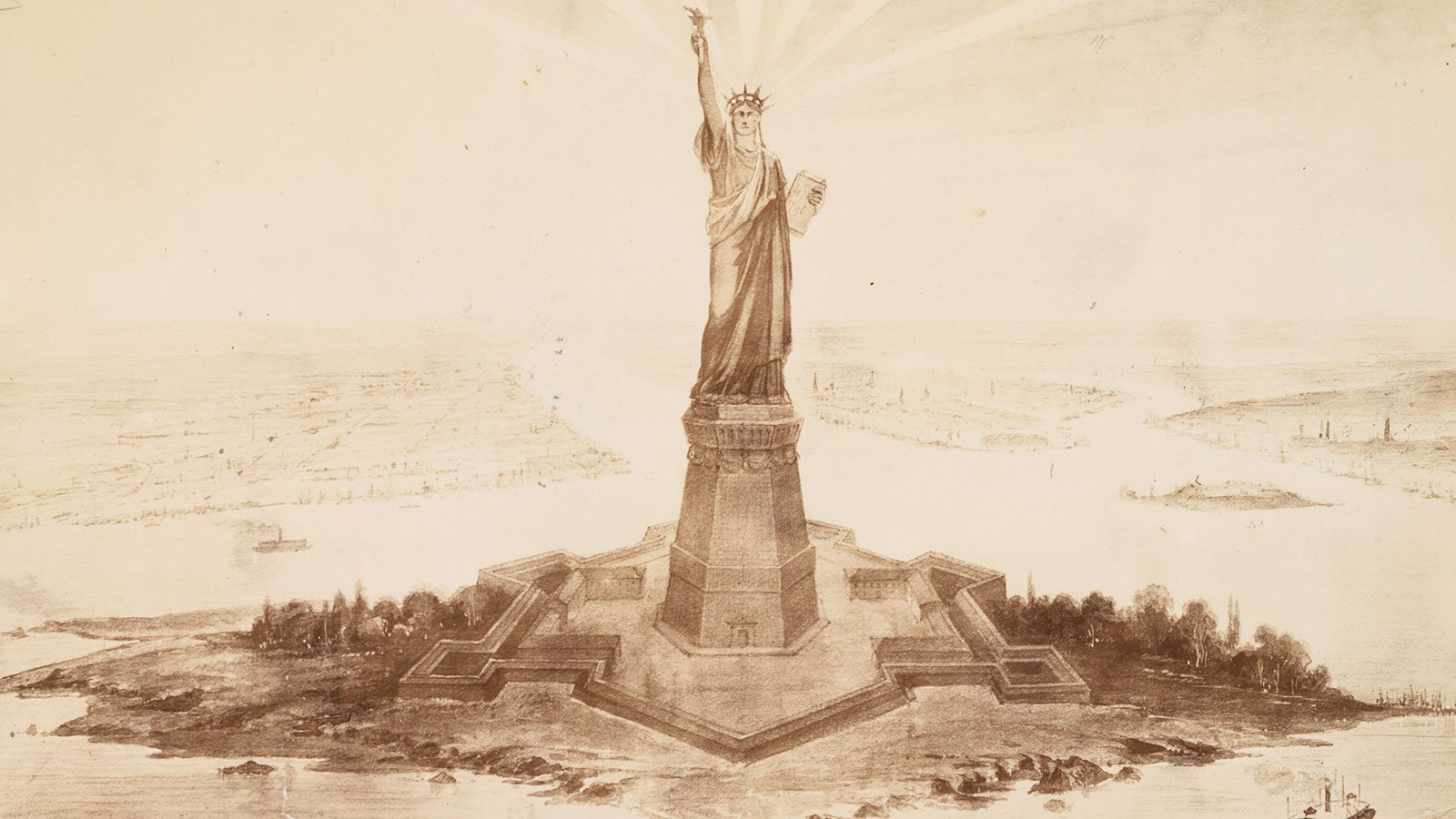 drawing of the Statue of Liberty in Upper New York Bay, 1883