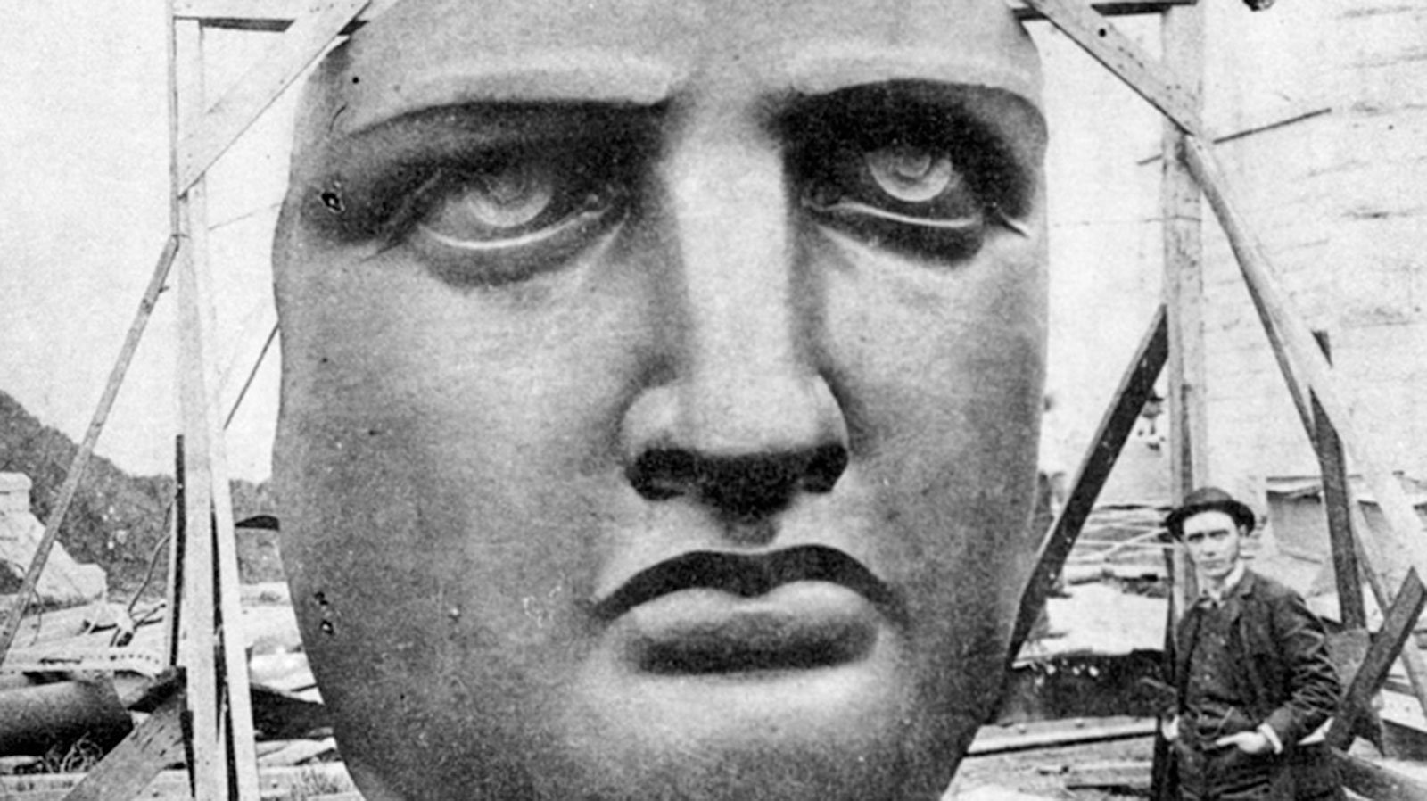 The Statue of Liberty's face waiting to be installed on Liberty Island, circa 1885