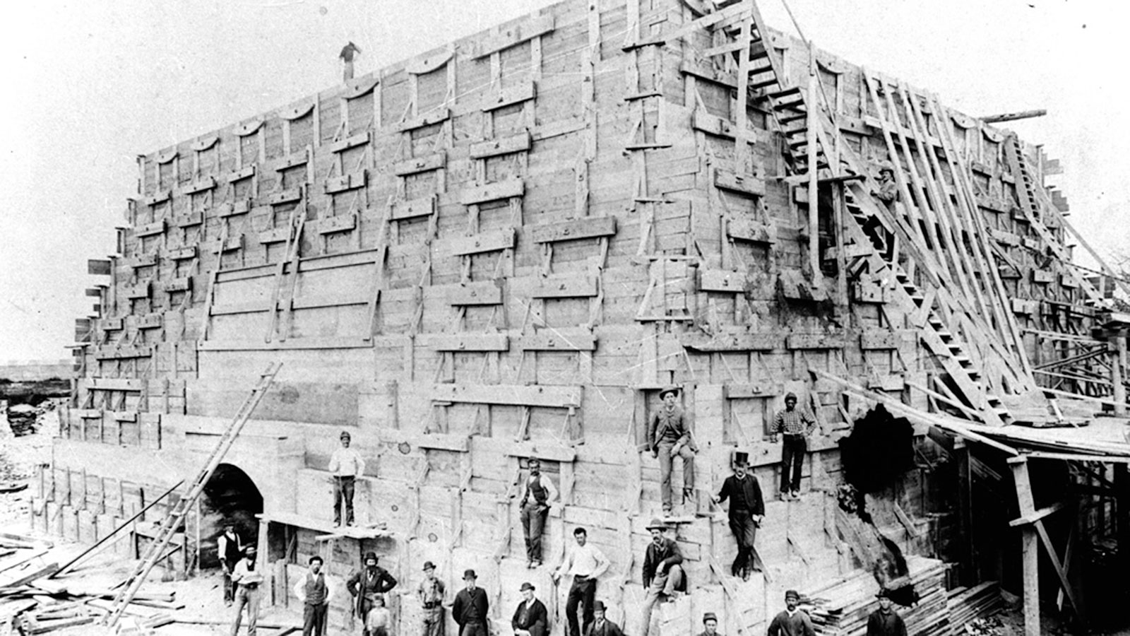 pedestal for the Statue of Liberty under construction