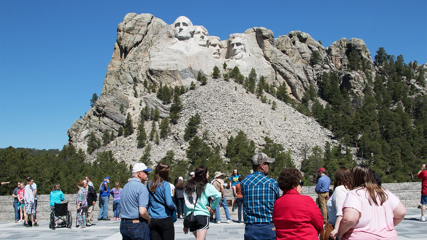 Tourists visit Mount Rushmore