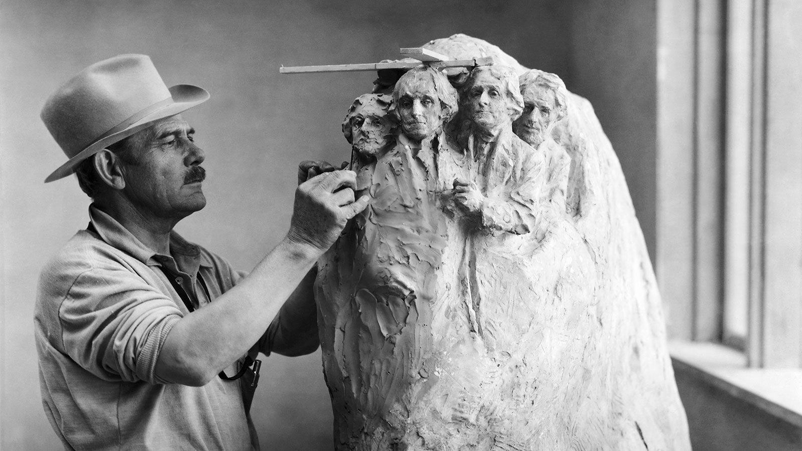 John Gutzom de la Mothe Borglum, seen in his studio at Rushmore in the Black Hills of South Dakota