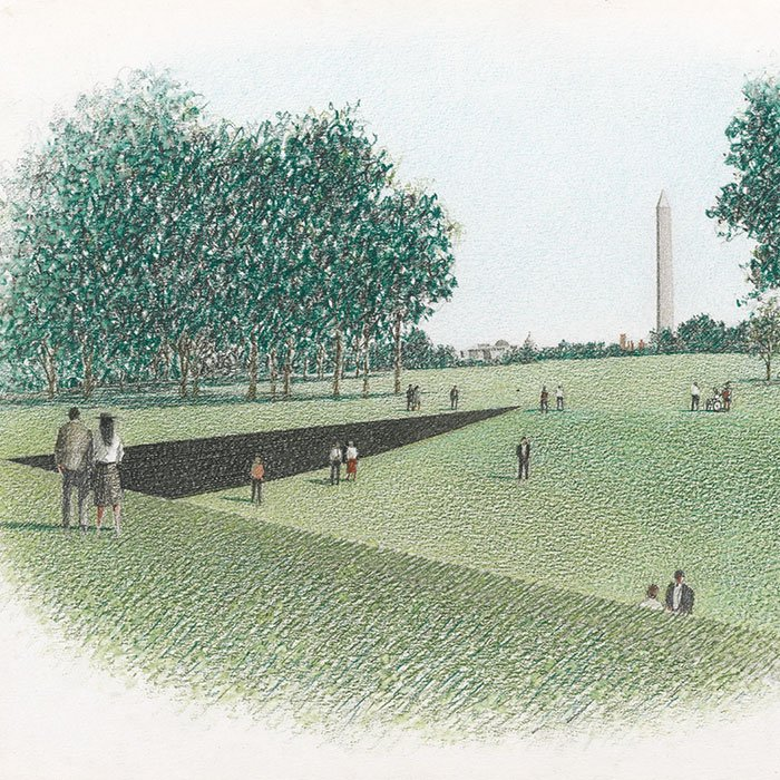 Sketch of the Vietnam Veterans Memorial, Washington, D.C.