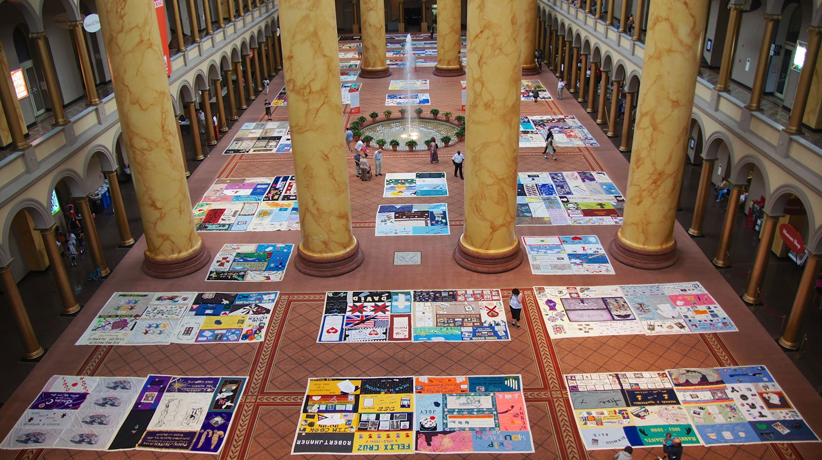 The AIDS Memorial Quilt on display at the National Building Museum in Washington, D.C. in 2012