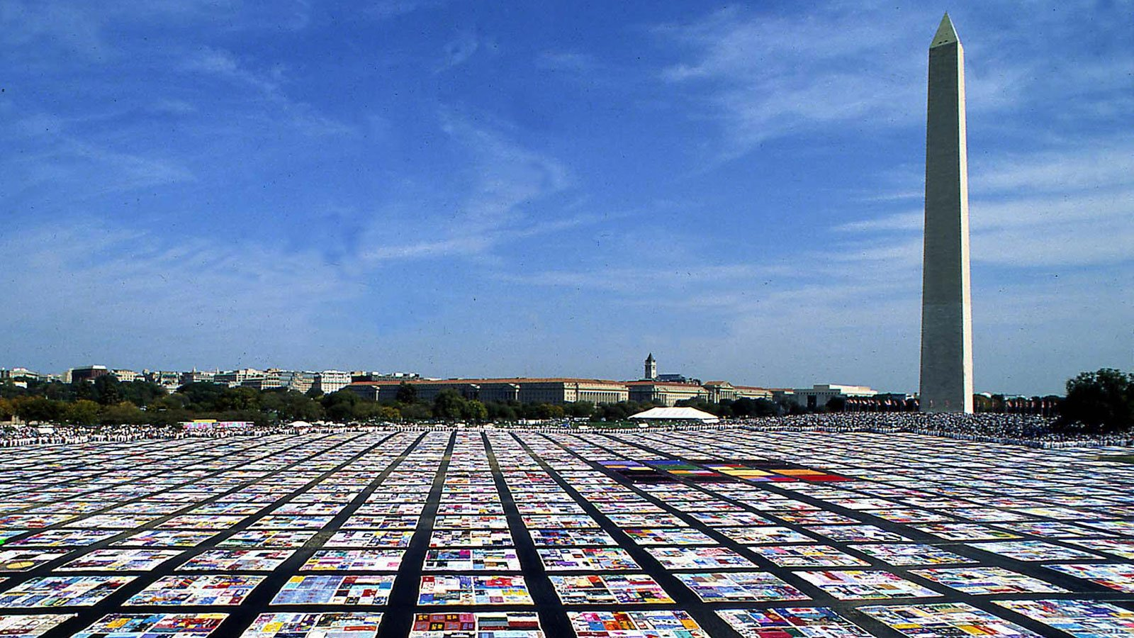 The AIDS Memorial Quilt on display on the National Mall in Washington, D.C.