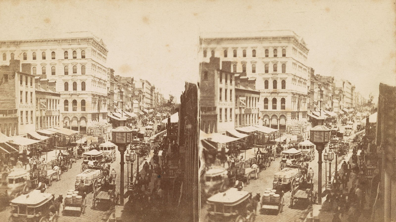 Broadway, near Grand Street in New York City, circa 1870