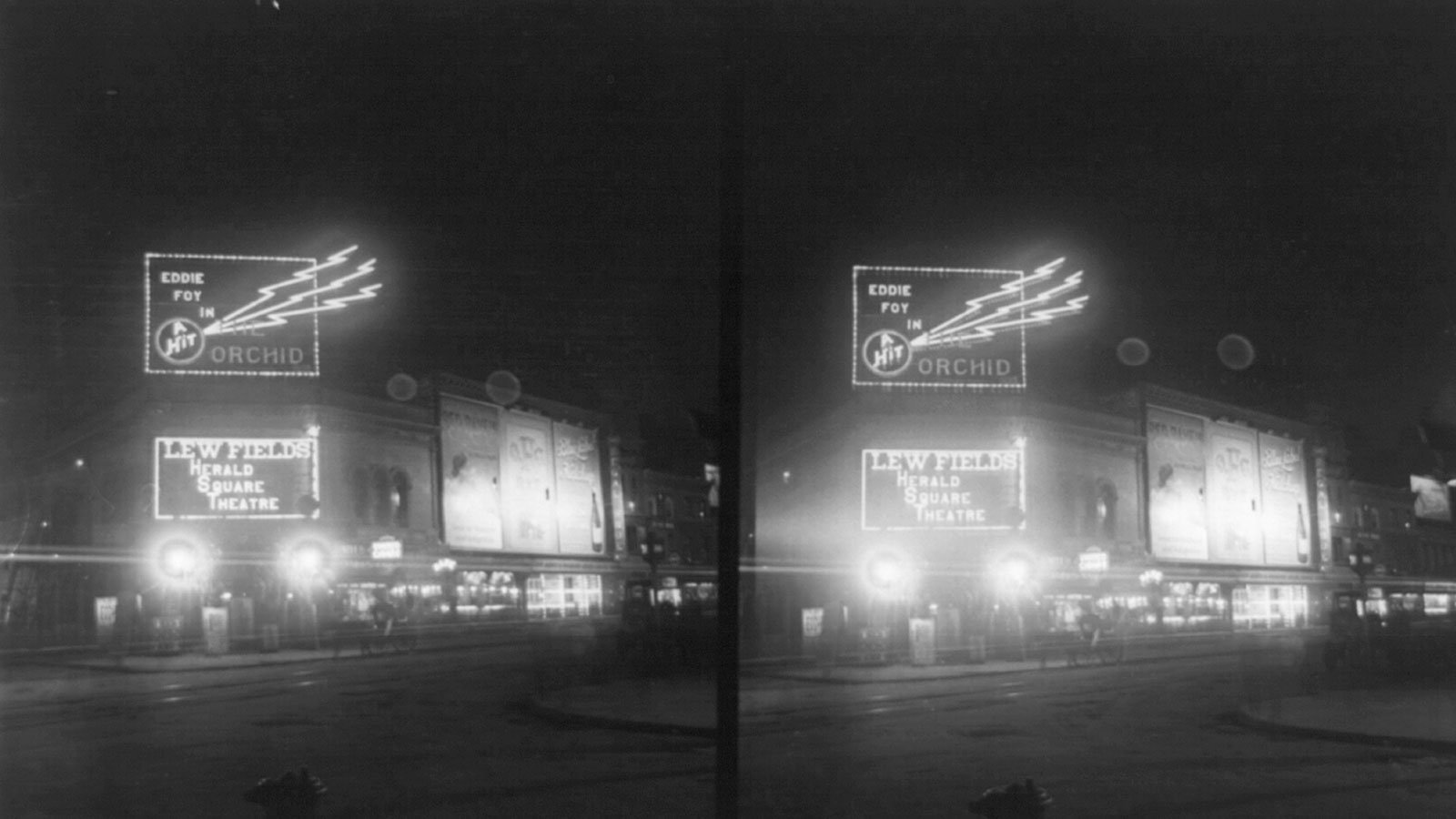 Broadway and Herald Square Theatre at night, circa 1907