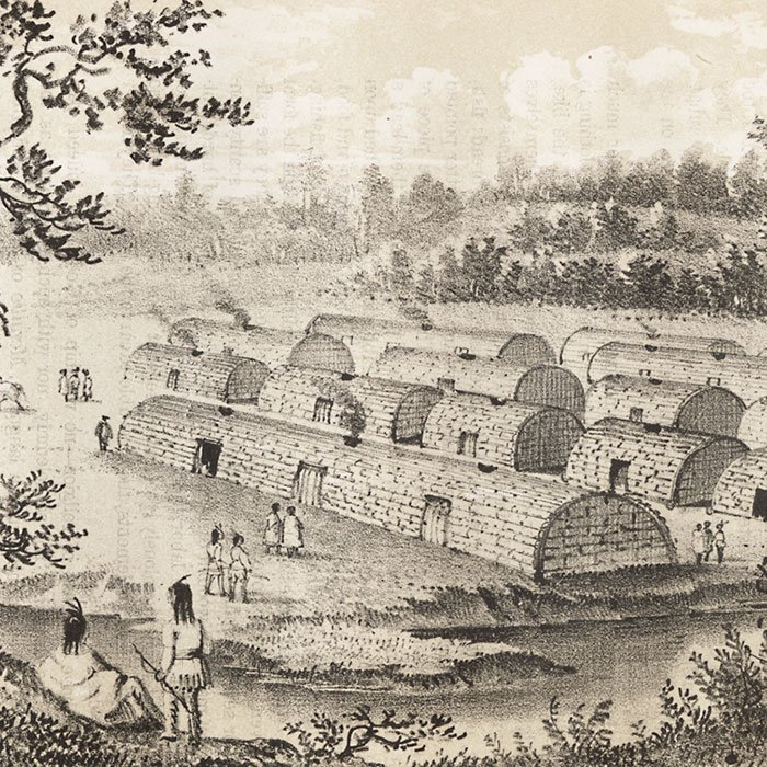 Lithograph of an Indian village of the Manhattans, prior to the occupation by the Dutch
