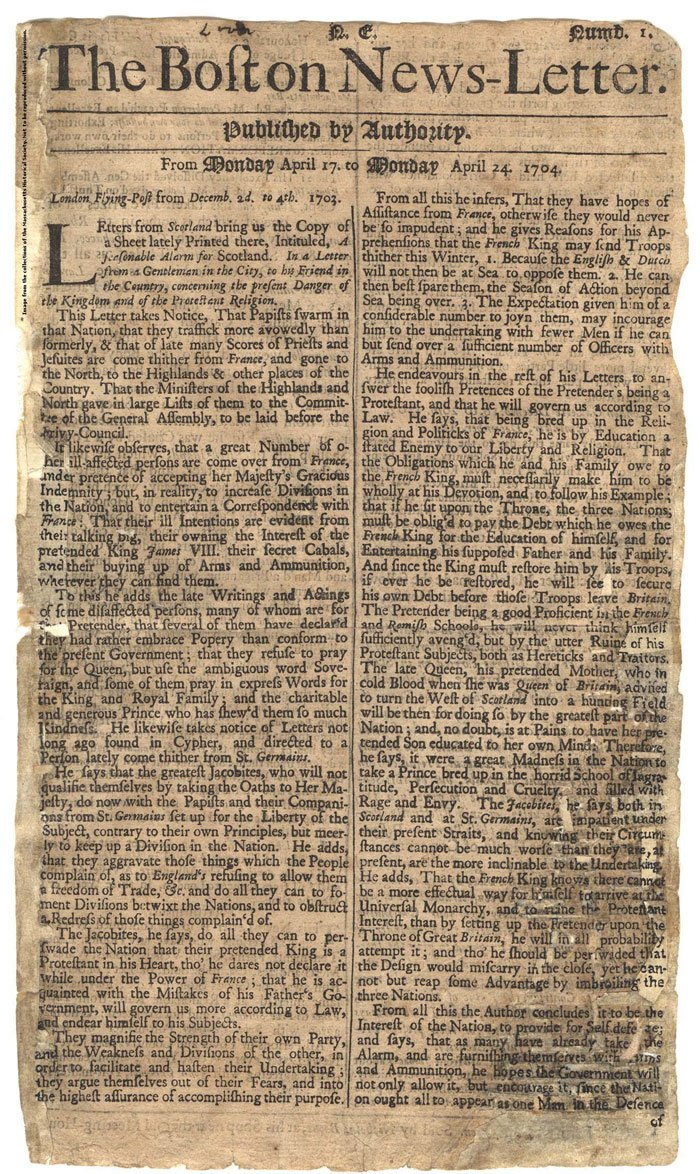 The Boston News-Letter, Number 1, April 1704