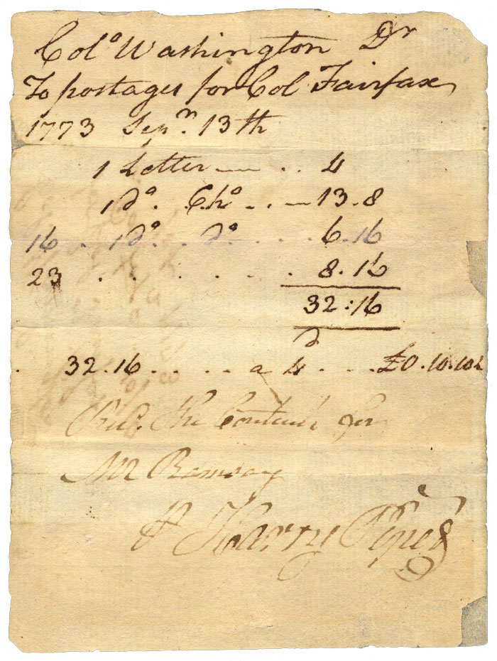1773 record of George Washington's outstanding bill for the postal service