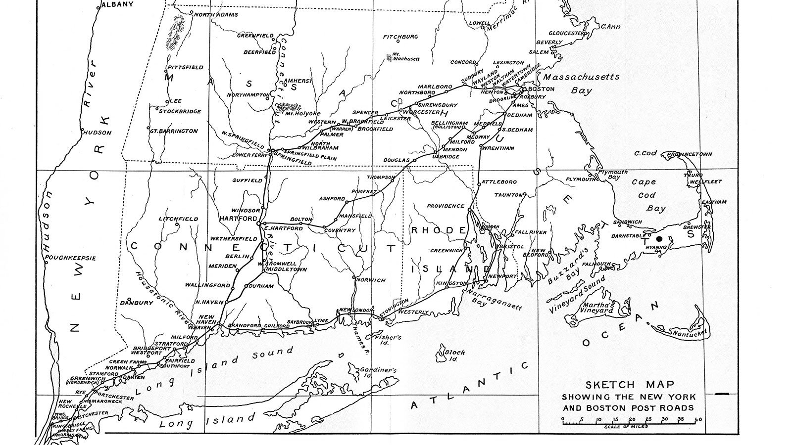 Map of the various branches of the Boston Post Road